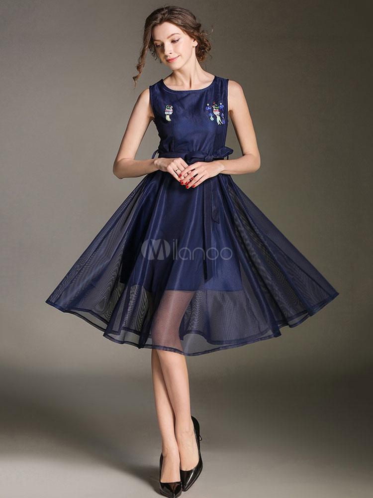 Buy Summer Skater Dress Sleeveless Sequins Deep Blue Tulle Midi Dress for $47.49 in Milanoo store