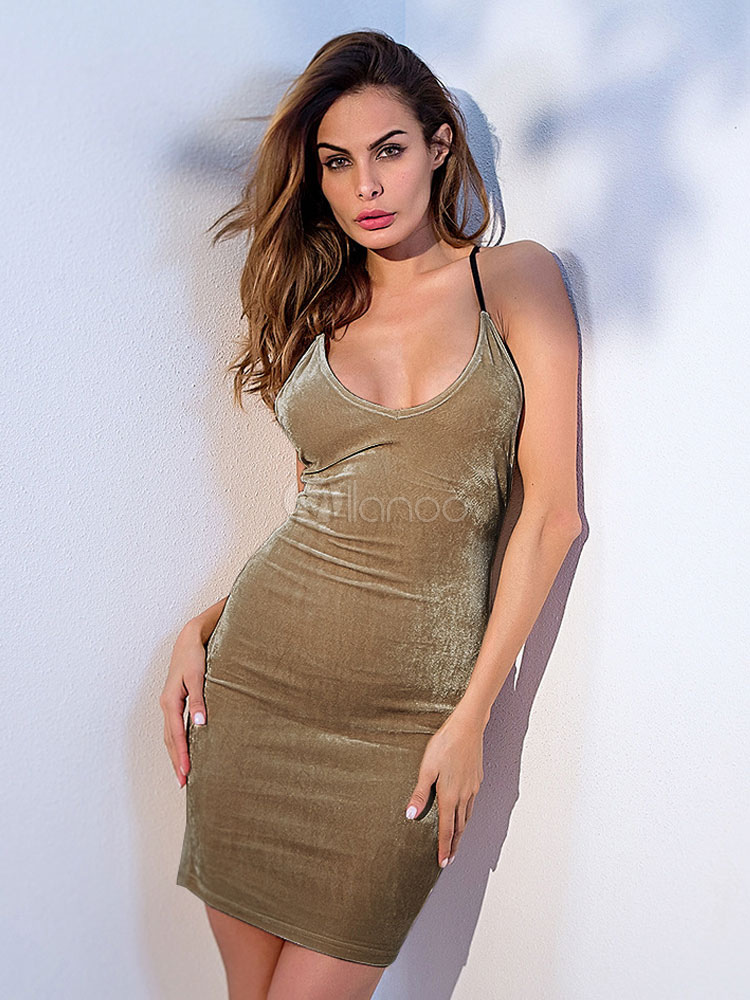 Buy Sexy Bodycon Dress U Neck Lace Up Spaghetti Straps Velour Summer Dress For Women for $25.49 in Milanoo store