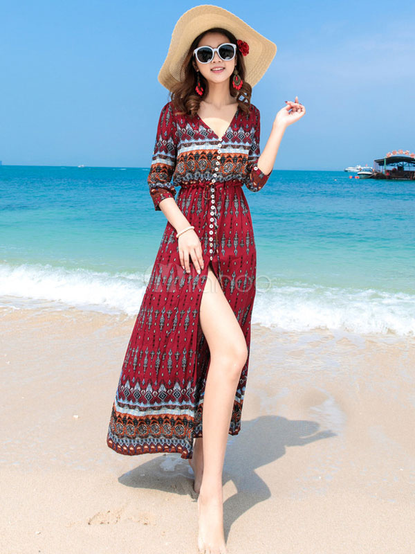 Buy Boho Long Dress Summer Beach Dress V Neck Printed Three Quarter Sleeve Buttons Cotton Maxi Dress for $37.99 in Milanoo store