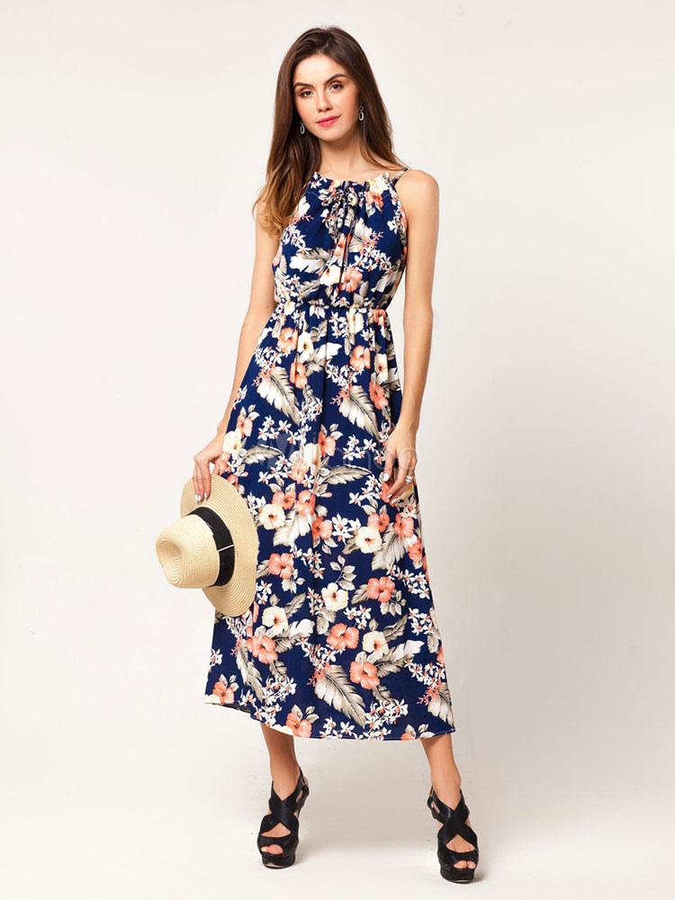 Buy Floral Maxi Dress Women Long Dress Sleeveless Print Blue Cotton Summer Dress for $37.99 in Milanoo store