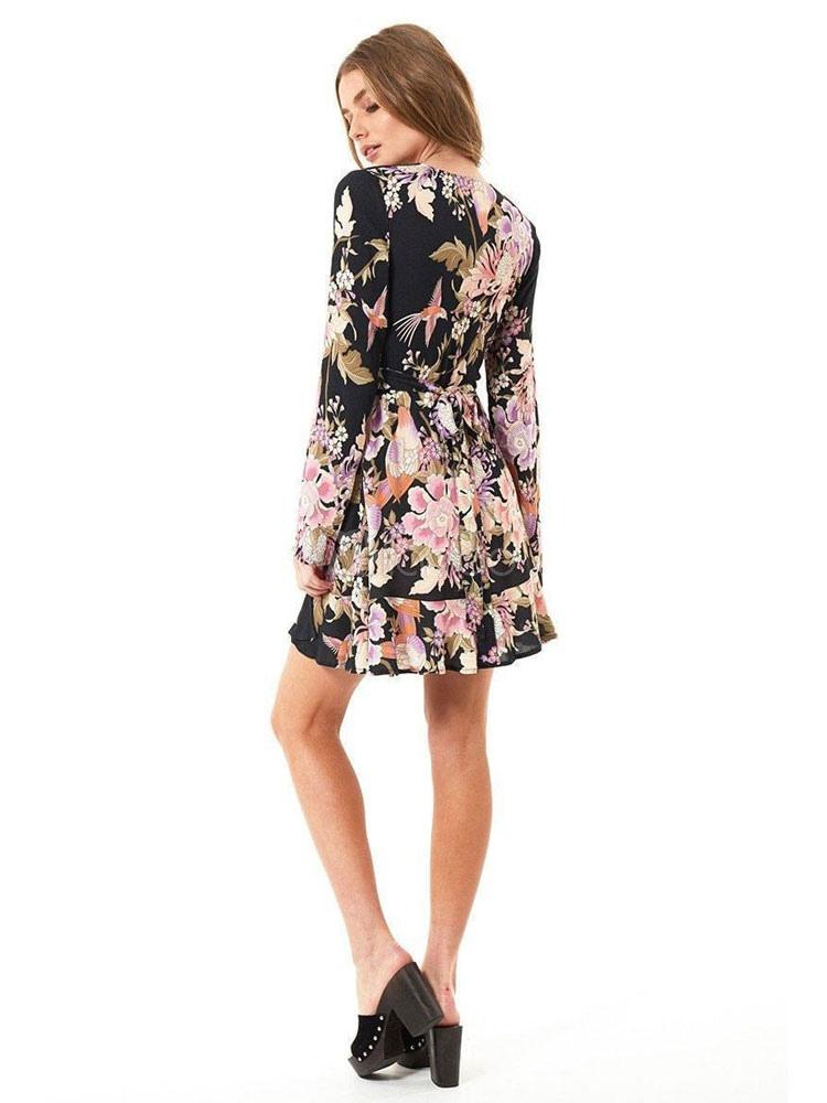 ... Little Black Dress Long Sleeve V Neck Floral Print Chiffon Skater Dress-No.3  ... 9b0ec70d5