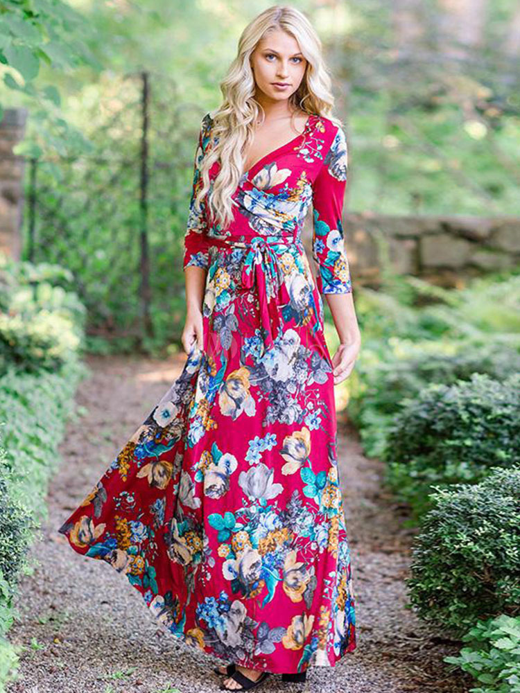 Buy Red Long Dress V Neck Floral Print Three Quarter Sleeve Women Maxi Dress for $29.74 in Milanoo store