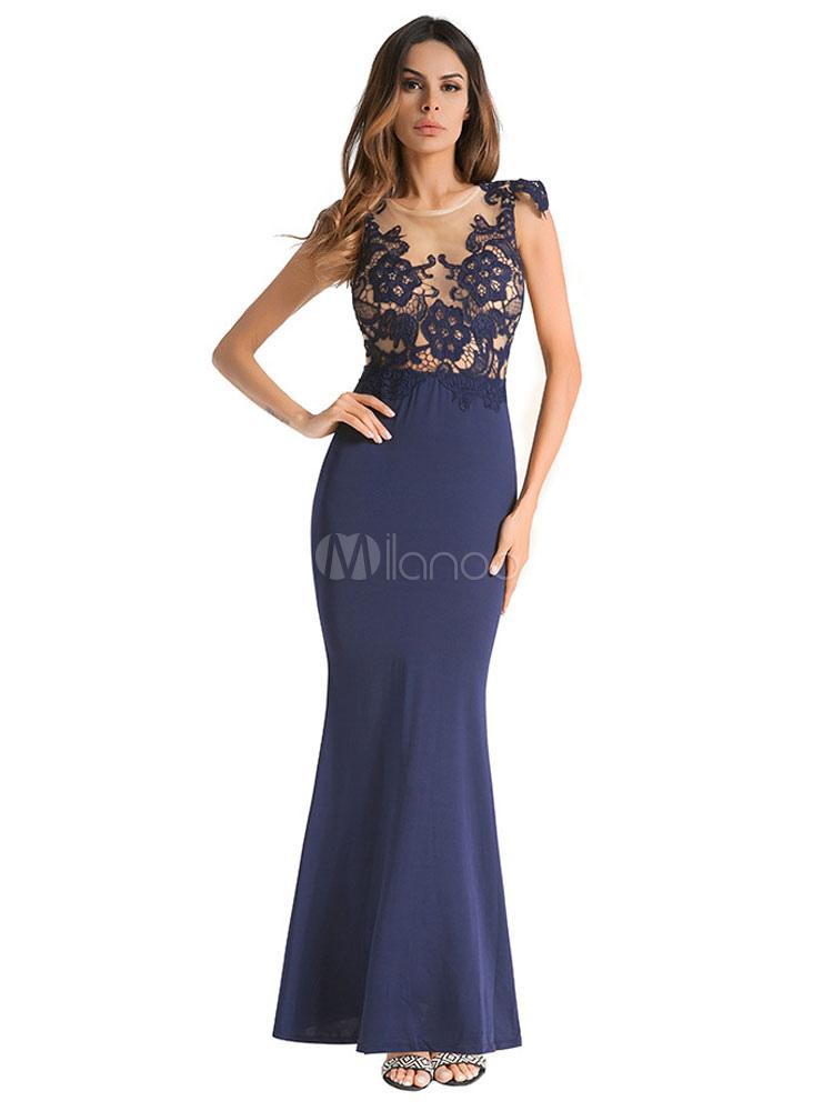 Vestido De Fiesta Largo De Encaje Vestido De Fiesta Largo De Manga Corta Vestido De Verano Atractivo De Cuello Redondo Azul