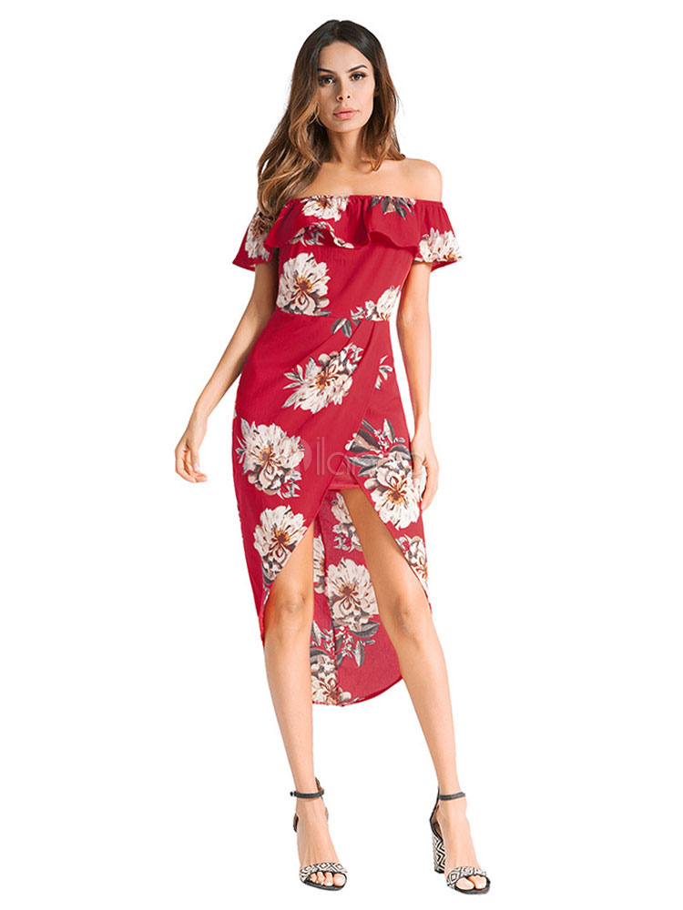 1f7e0a1e64 Red Long Dress Boho Chiffon Off The Shoulder Floral Print High Low Split  Summer Dress- ...