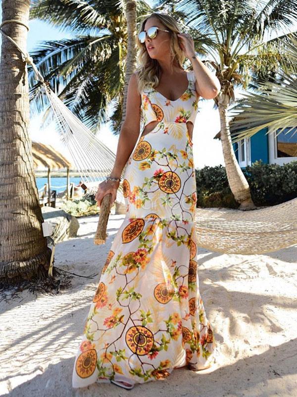 Chiffon Long Dress V Neck Sleeveless Cut Out Yellow Printed Summer Dress