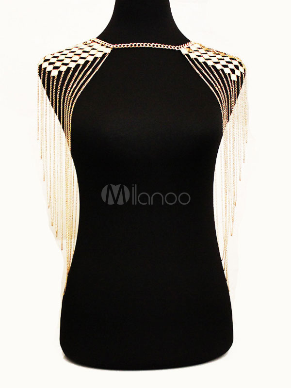 Buy Gold Body Chain Sequins Waterfall Layered Alloy Shoulder Jewelry For Women for $15.99 in Milanoo store