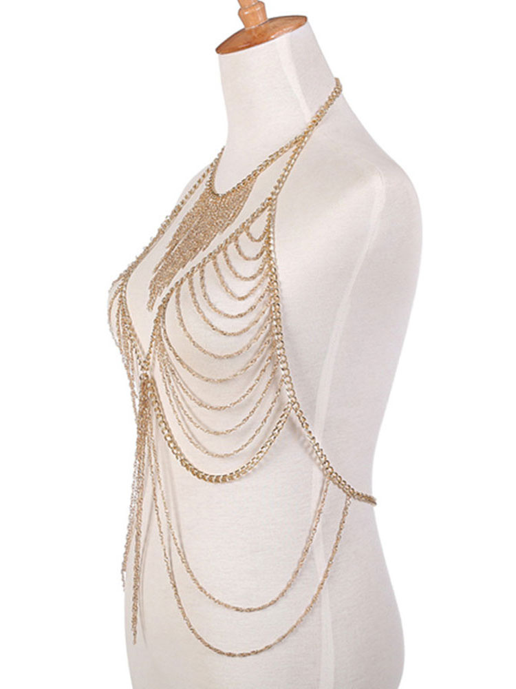01fd2ee296 ... Gold Body Chain Bralette Layered Alloy Beach Body Harness Jewelry-No.3