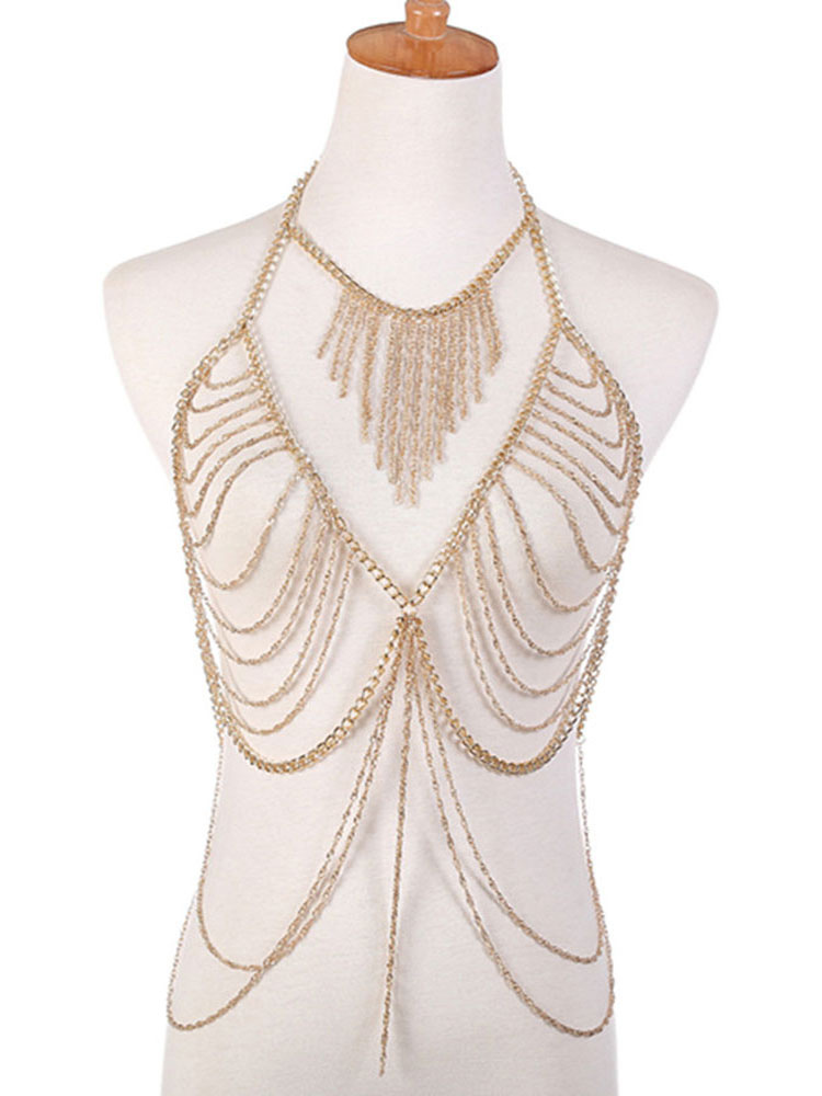 3d2ace356e Gold Body Chain Bralette Layered Alloy Beach Body Harness Jewelry-No.1 ...