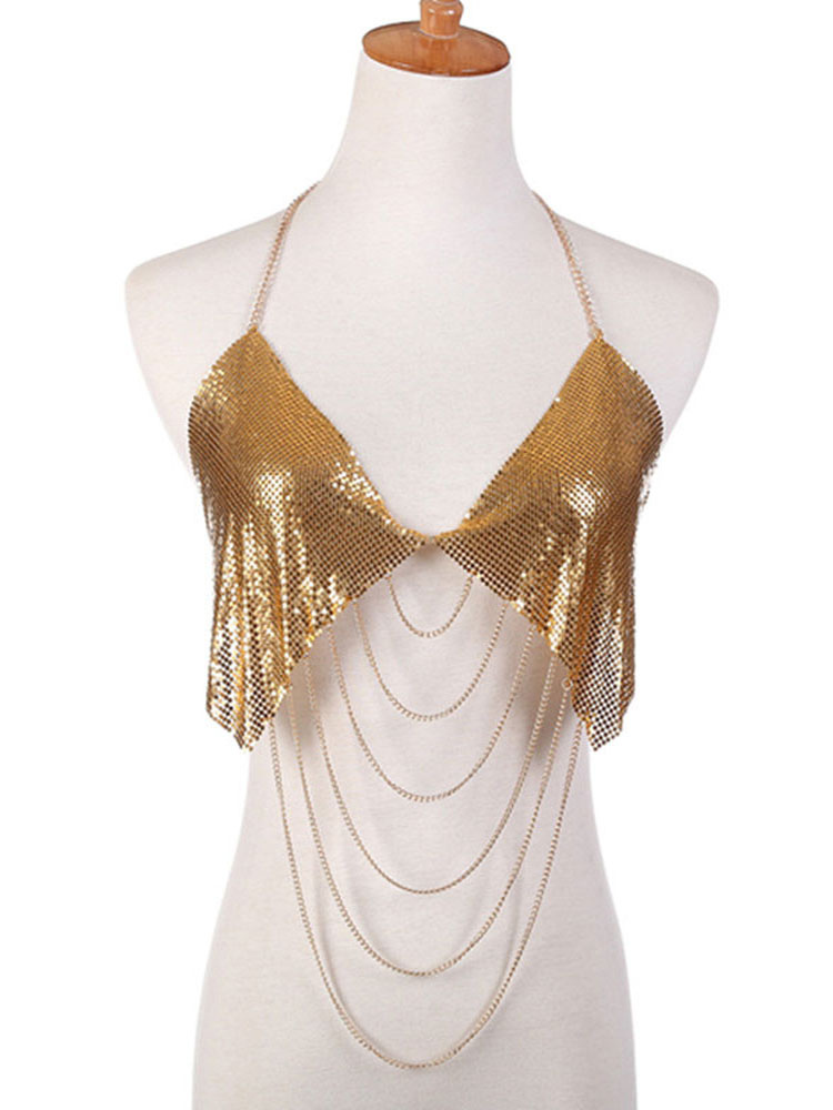 Buy Women Body Jewelry Bralette Sexy Gold Sequins Layered Waterfall Body Chain for $14.99 in Milanoo store