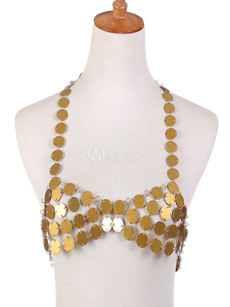 Buy Body Chain Bralette Women Sexy Gold Sequins Beach Body Jewelry for $15.99 in Milanoo store