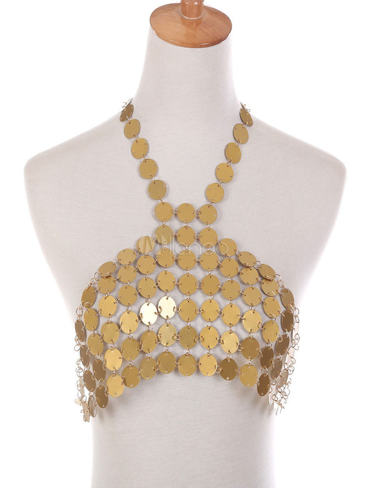 f08e96c18dfcda Gold Body Chain Bralette Sexy Sequins Halter Alloy Body Jewelry-No.1 ...