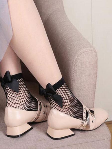 Women Black Socks Bows Fishnet Nylon Hosiery