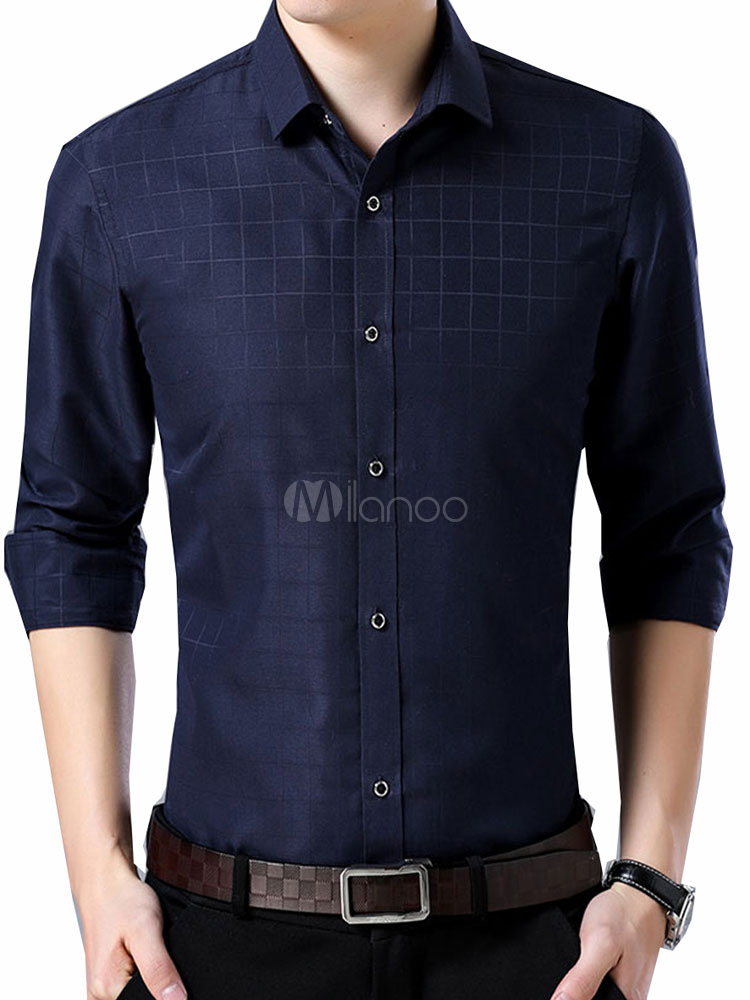 Buy Navy Blue Shirt Men Dress Shirt Plaid Long Sleeve Shirt for $22.49 in Milanoo store