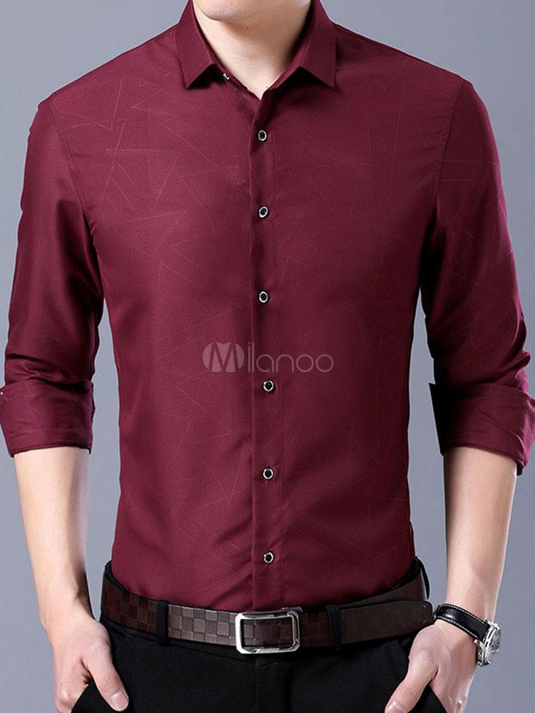 Camisa De Vestir Para Hombre Camisa De Manga Larga Para Negocios Con Estampado De Algodón