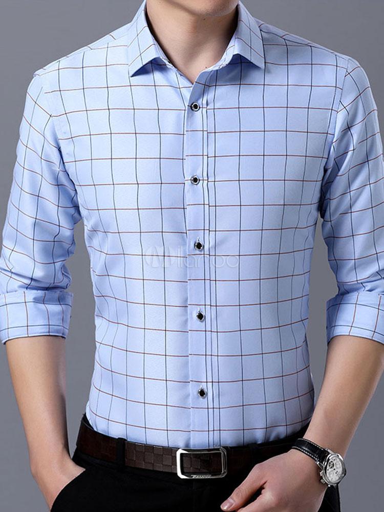 b6381c89a Camisa de vestir azul Camisa de cuadros Camisa de manga larga de algodón  Hombres Negocios Casual Top