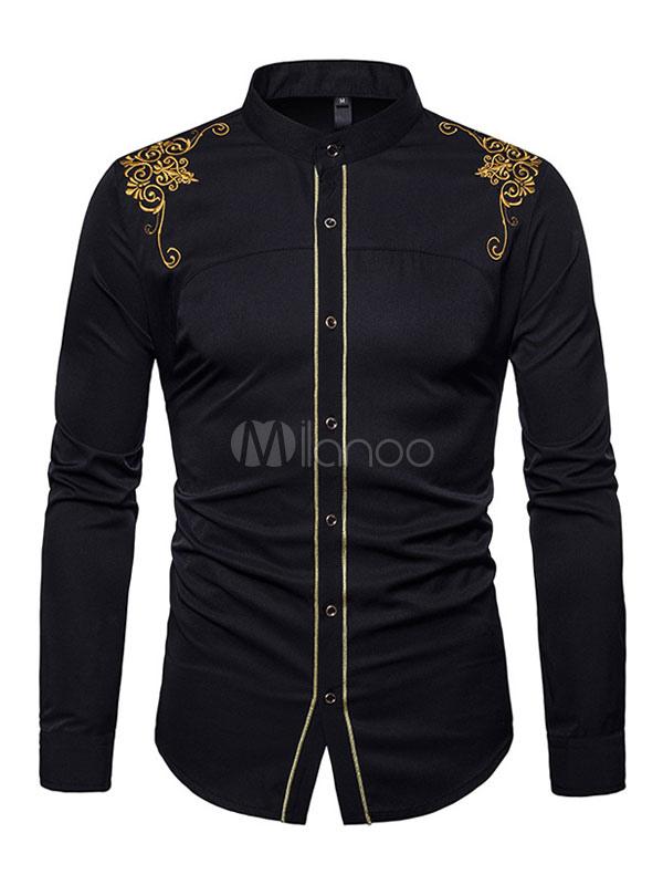 Men Shirt Casual Court Embroiderer Stand Collar Black Long Sleeve Shirt