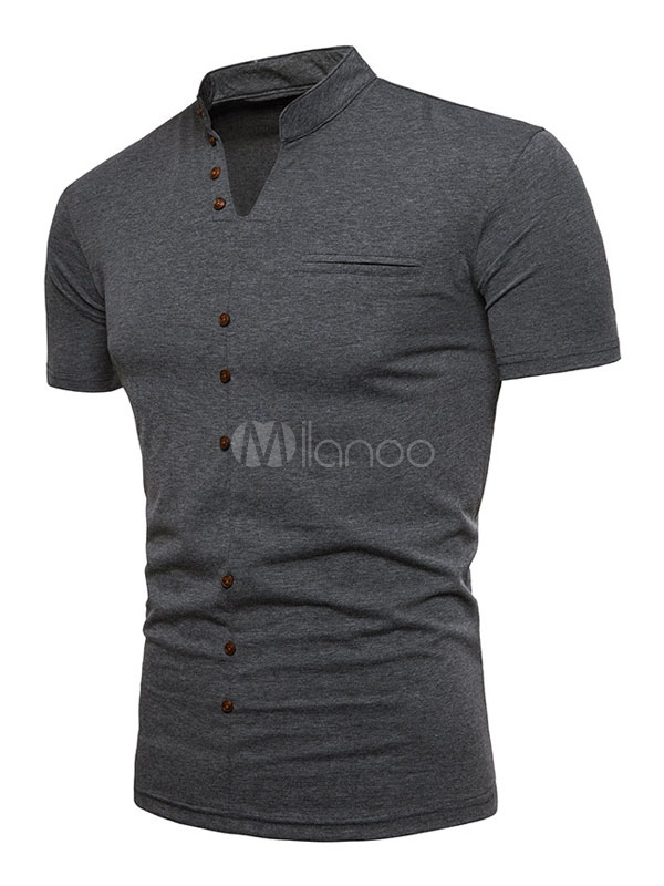 Short Sleeve Men T Shirt V Neck Button Decor Deep Grey Henley Shirt Casual T Shirt