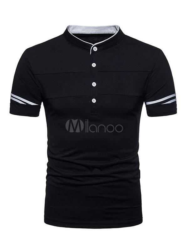 Black Polo Shirt Henly Neck Men T Shirt Casual Button Two Tone Short Sleeve Tee Top
