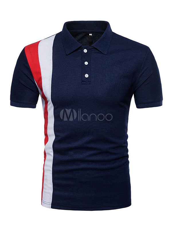 Men Navy Top Color Block Cotton Polo Shirt Button Short Sleeve T Shirt Casual