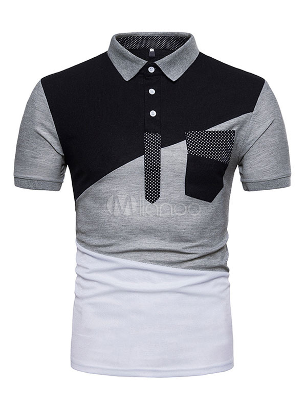 0d8ff5ba24 Men Polo Shirt Geometric Color Block Button Cotton Top Patchwork Short  Sleeve Casual T Shirt