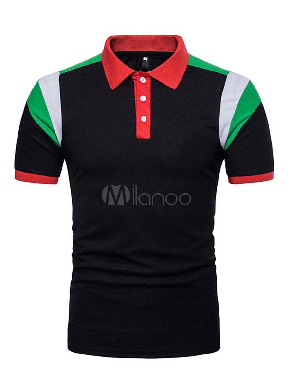 Men Polo Shirt Color Block Turndown Collar Short Sleeve T Shirt