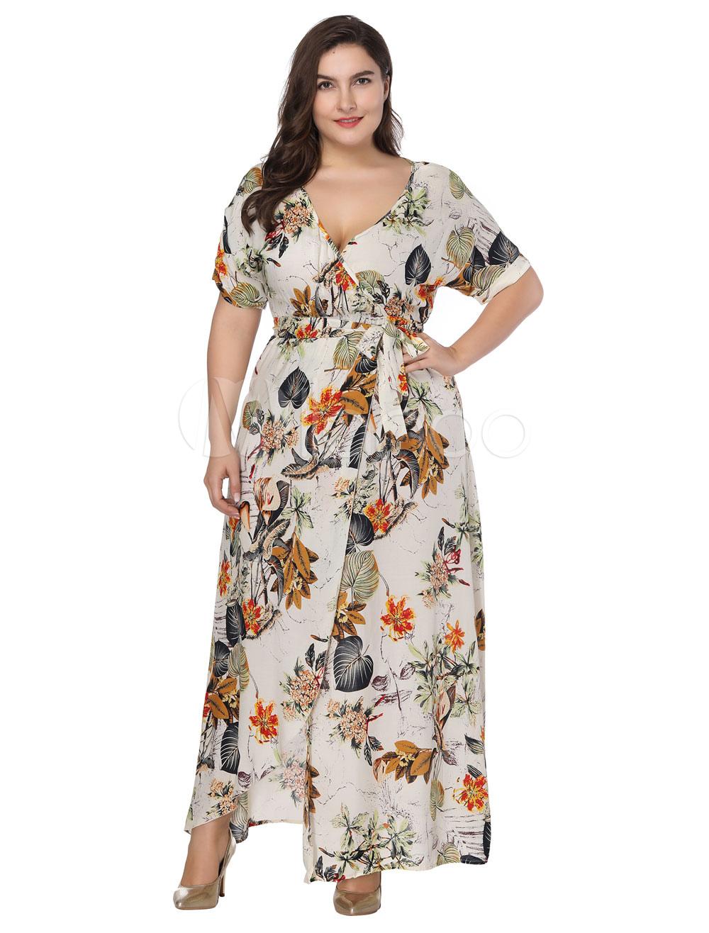 Plus Size Dress Floral Maxi Dress Women Split Short Sleeve Oversized Summer Dress