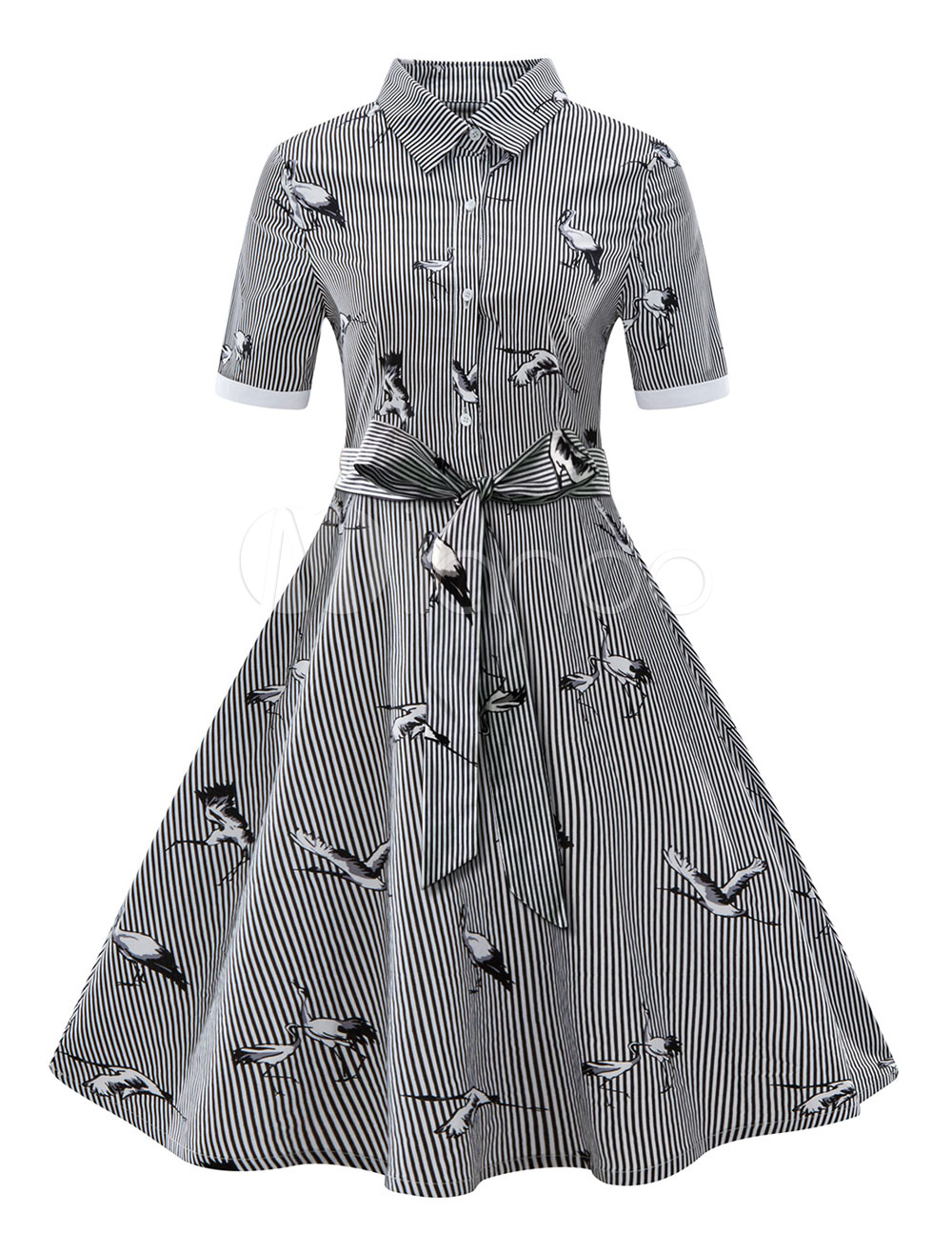 Buy Vintage Shirt Dress 1950s Black Short Sleeve Striped Animal Print Sash Summer Dress for $26.34 in Milanoo store