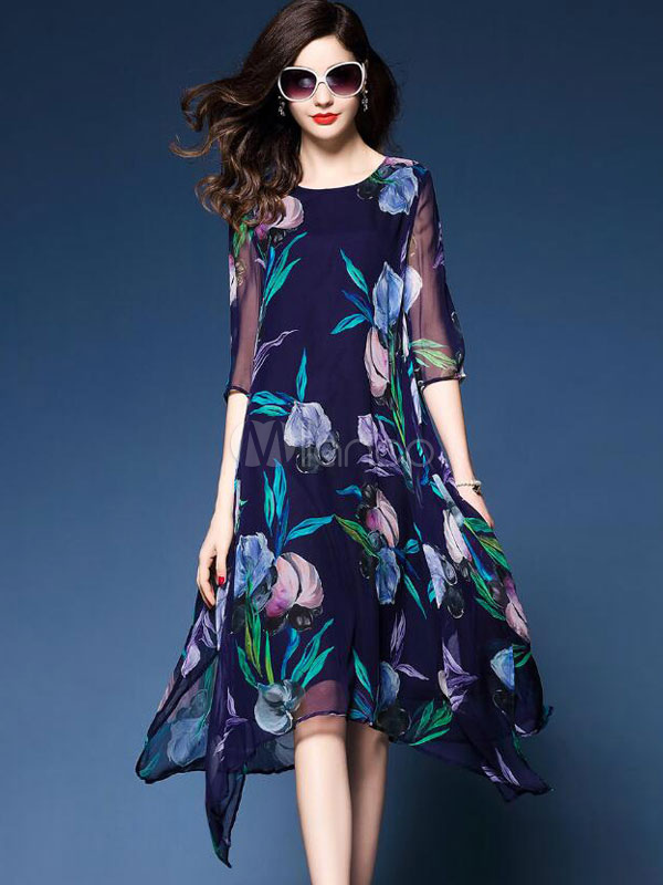 Buy Blue Shift Dress Chiffon Half Sleeve Floral Print Round Neck Midi Dress for $24.49 in Milanoo store