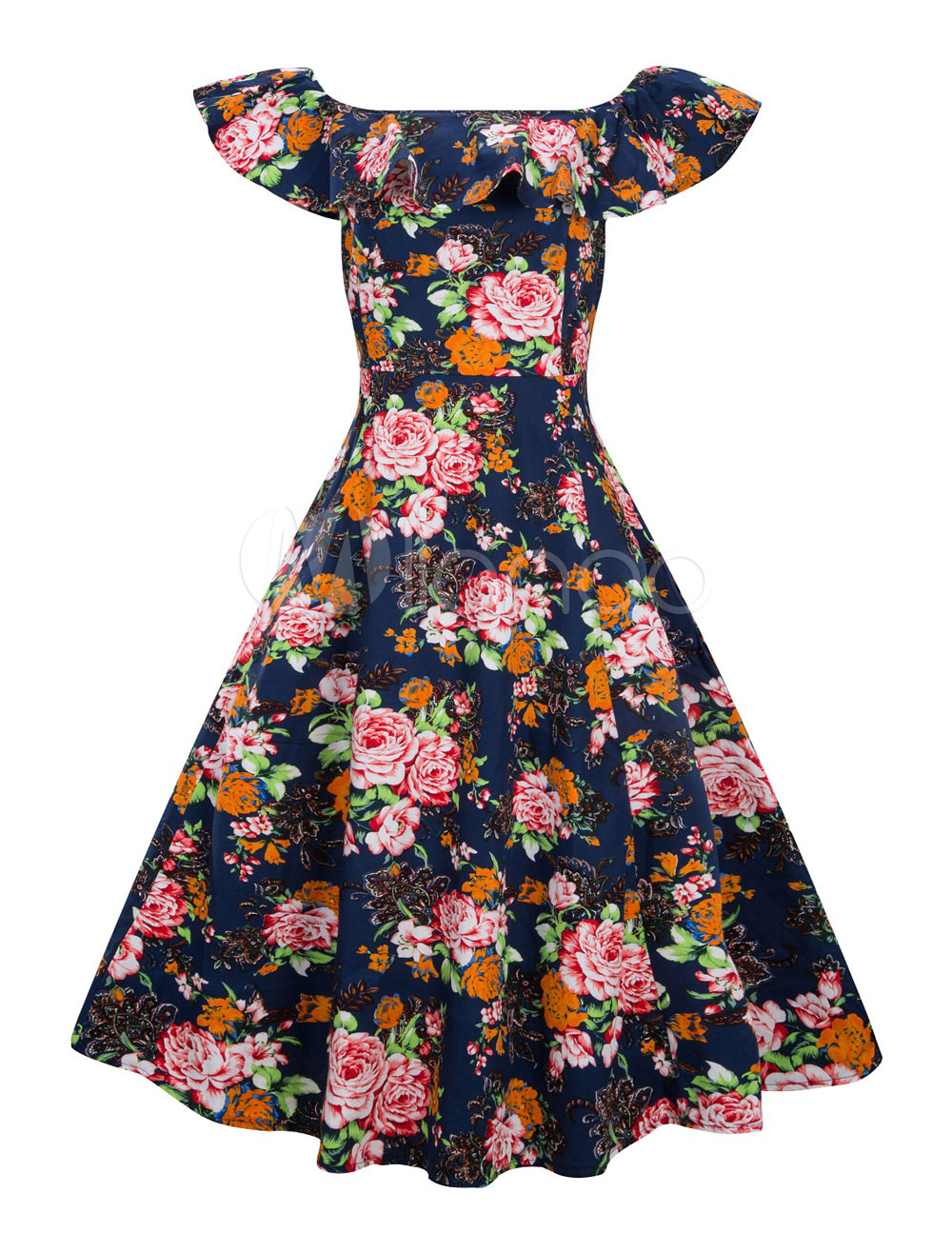 Buy Summer Vintage Dress Short Sleeve 1950s Off The Shoulder Floral Print Retro Swing Dress for $33.24 in Milanoo store