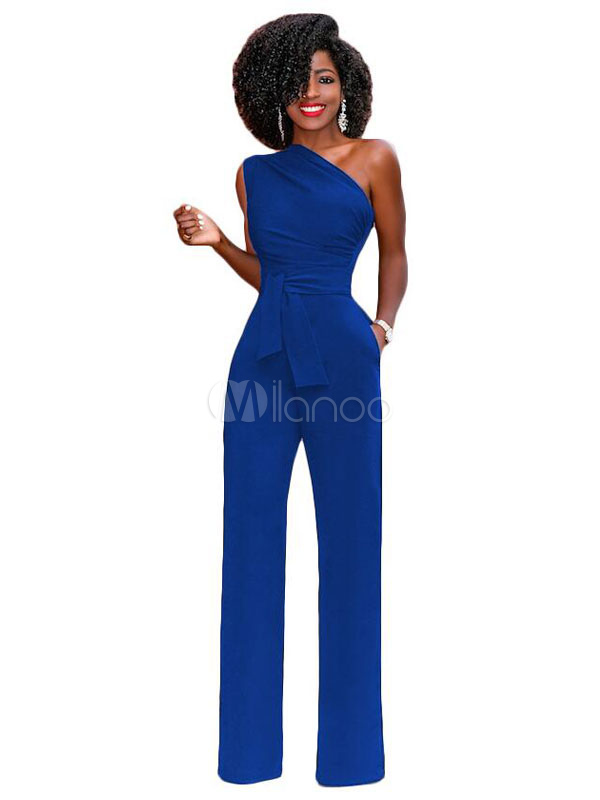 Women Sexy Jumpsuit One Shoulder Sleeveless Blue Sash Summer Jumpsuit