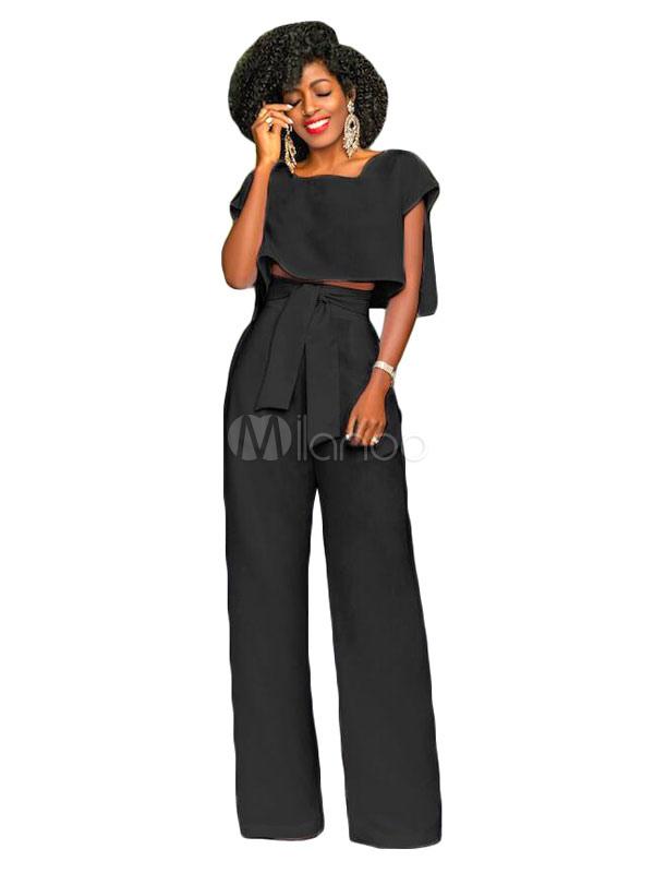 Black Pants Set Women Short Sleeve Sexy Top With Wide Leg Long Pants