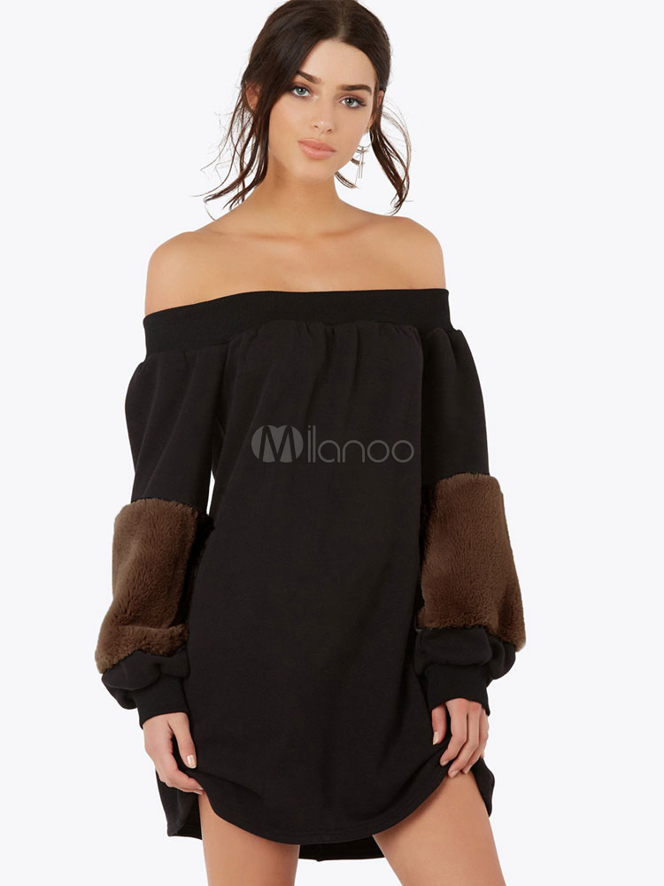 Buy Black Shift Dress Faux Fur Long Sleeve Off The Shoulder Women Spring Mini Dress for $21.24 in Milanoo store