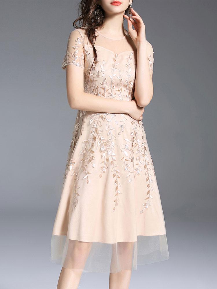 Vestido de fiesta de verano vestido de mangas cortas de color rosa ...