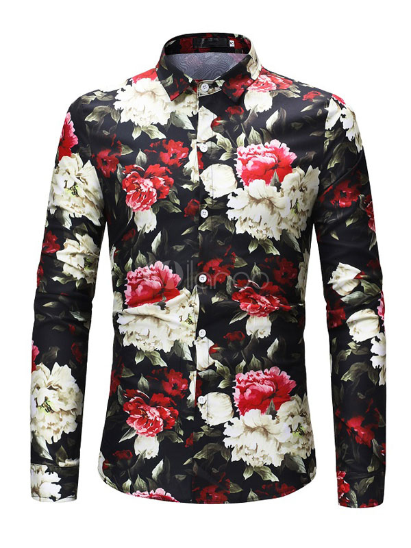 Long Sleeve Shirt Floral Top Cotton Black Casual Shirt For Men