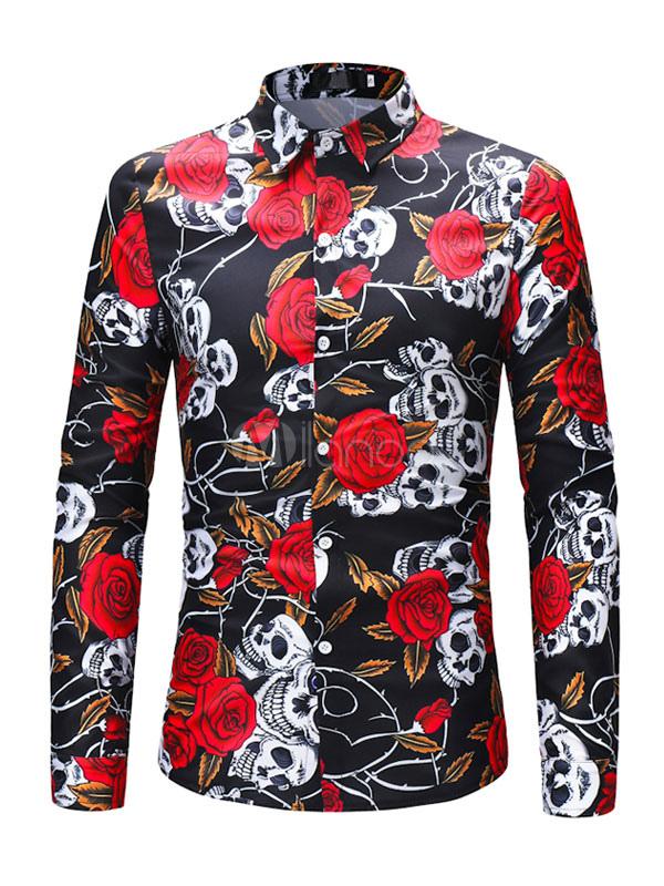 516ba3bc1788f Camisa floral de manga larga con estampado de calavera de hombre-No.1 ...