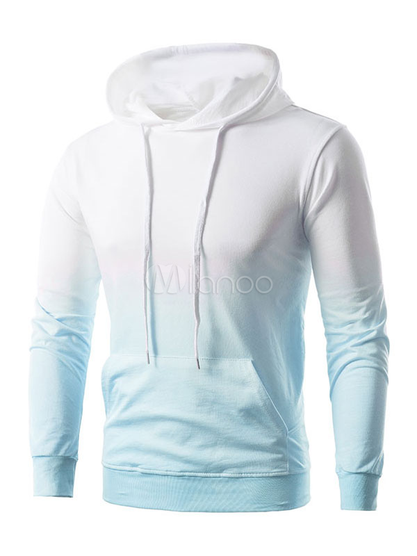 Long Sleeve Hoodie Drawstring Ombre Print Spring Pullover For Men