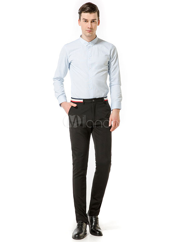 Buy Men Pant Navy Stripe Business Casual Straight Leg Pant for $31.49 in Milanoo store