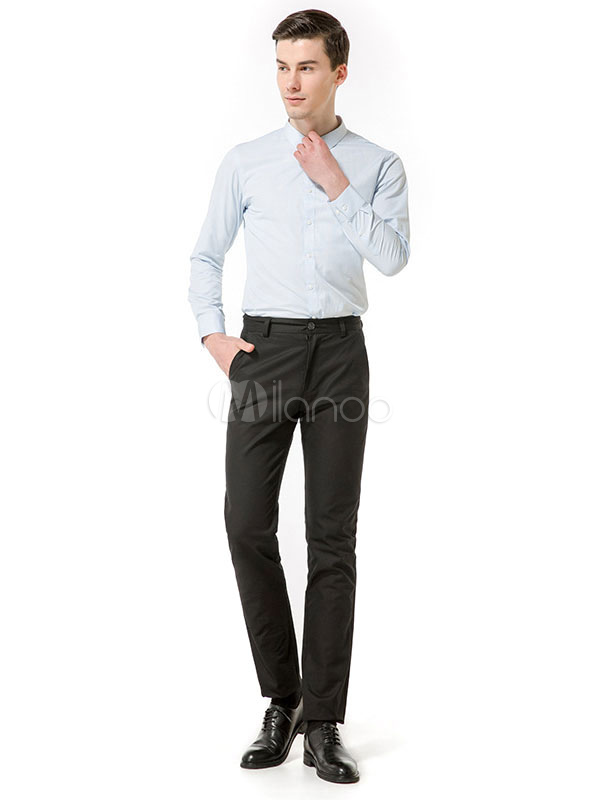 Buy Men Pant Cotton Straight Leg Business Casual Work Pant for $31.49 in Milanoo store