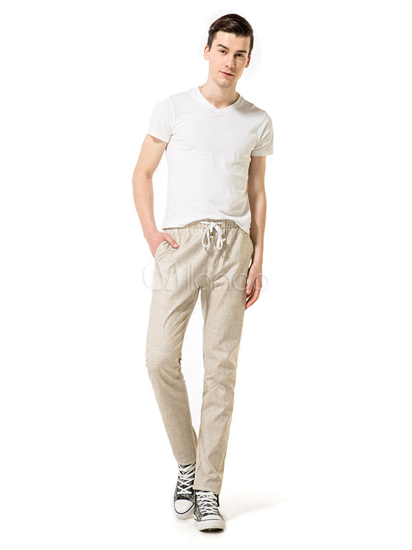 Buy Straight Leg Pant Drawstring Men Cotton Pant Casual for $31.49 in Milanoo store