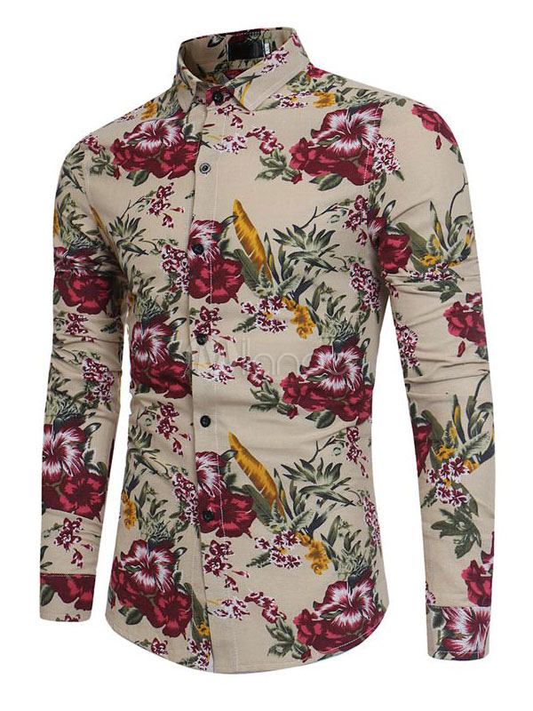Men Shirt Casual Floral Print Khaki Hawaii Shirt Long Sleeve Spring Top