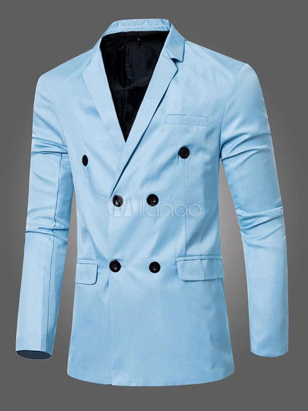 Men Blazer Casual Double Breasted Suit Jacket Pocket Slim Fit Long Sleeve Cotton Jacket
