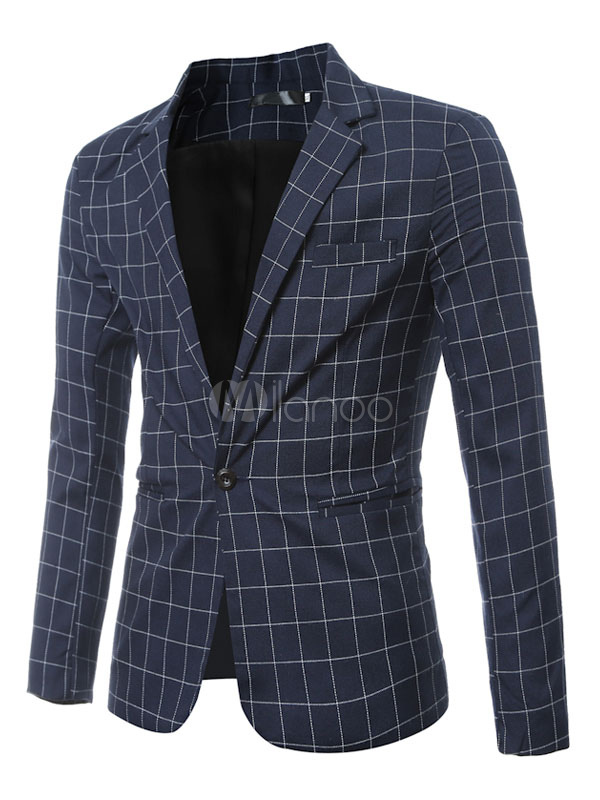 Buy Blazer For Men Button Decor Plaid Short Jacket Casual Navy Blazer for $44.99 in Milanoo store