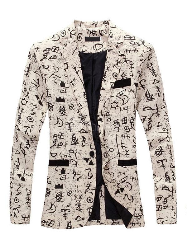 Men Suit Jacket Print Pocket Front Button Casual Blazer