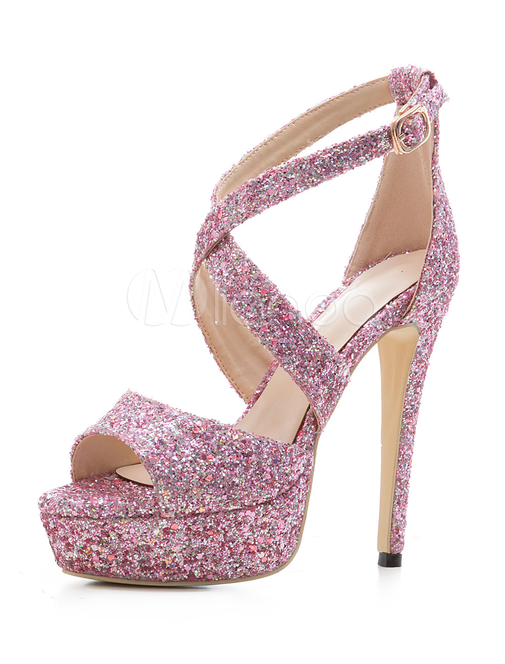 3235042d03e Women Evening Sandals Glitter Prom Shoes Fuchsia Pink Open Toe High Heel  Sandals