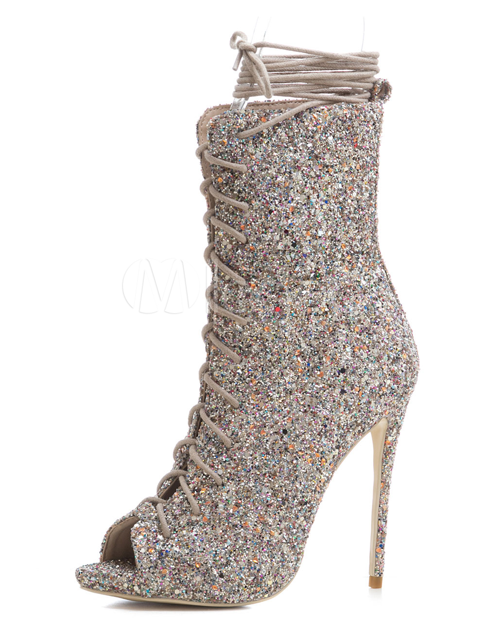 Silver Sandal Boots Women High Heels Peep Toe Lace Up Sexy Sandals
