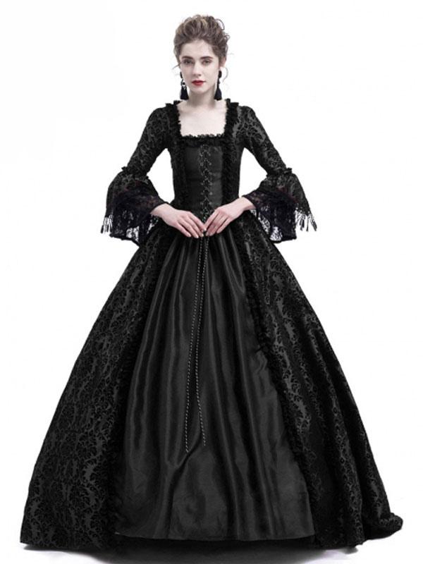 4d62b4d6912 Ретро костюм Хэллоуин Викторианские платья Готические женщины с длинным  рукавом черные бальные платья-No.