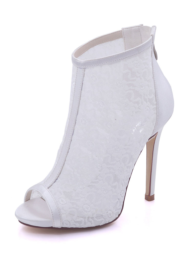 Ivory Wedding Shoes High Heels Lace Peep Toe Ankle Strap Sandal Booties