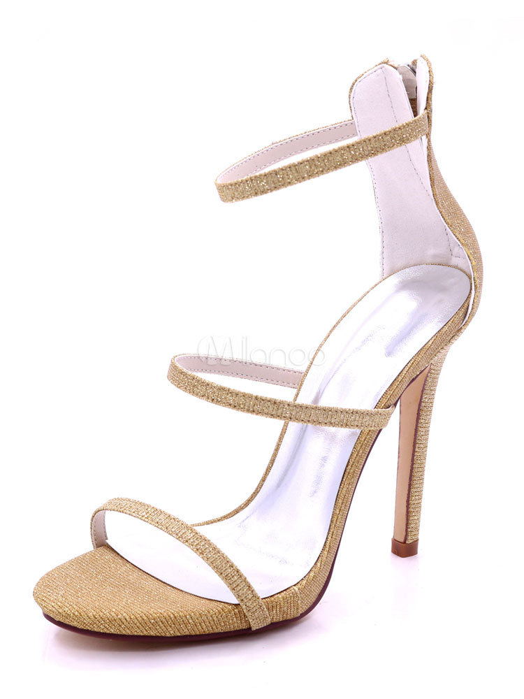 tirantes tacón oro de de alto con abierta de con Sandalias Sandalias de oro boda punta punta Zapatos de wBUW5qxpqX