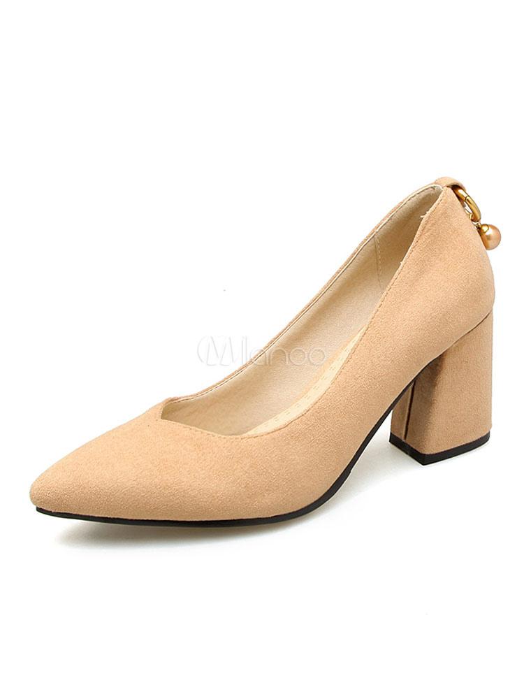 ... Zapatos de tacón de puntera puntiaguada Piel sintética Color liso con  perlas de tacón gordo ... 0b221fab30ef