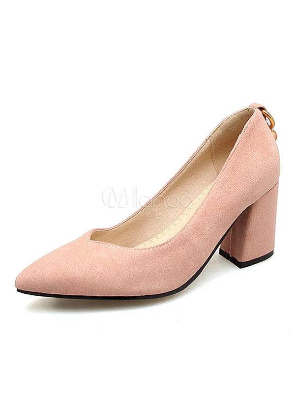 Buy Pointed Toe Heels Suede Pearls Slip On Pumps Women High Heels for $37.99 in Milanoo store